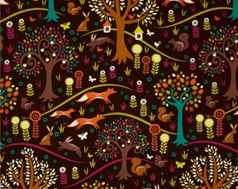 Norwegian Woods Too Foxtrot Jewel by Michael Miller - Trees Fox Brown Purple - Quilting Cotton Fabric - choose your cut