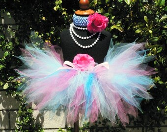 Baby Tutu - Pink Blue Tutu - Birthday Tutu - BUBBLEGUM SWEETNESS - sizes Newborn to 12 months - 8'' Sewn Pixie Tutu for baby, toddler, girls