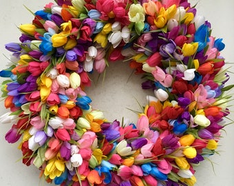 Tulip Wreath, Spring Wreath, Mothers Day Wreath, Tulip Spring Wreath, Spring Tulip Wreath, Tulips, Wreath, Tulip Door Wreath,Easter Wreath