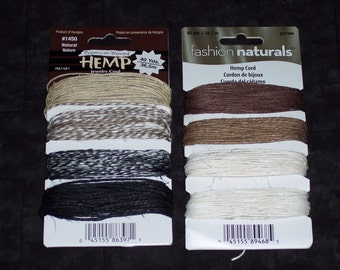 Hemp Jewelry cord,4 natural color assortment packages,The Beadery,10 yd each color,40yd per package,warm,bright,multi color,macrame,boho
