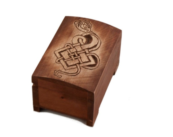 wooden historical box with hand carved lid