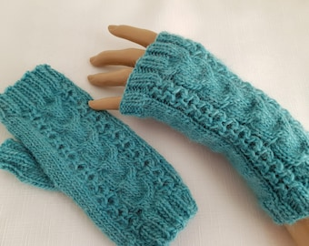 Womens Mittens - Ladies Fingerless Gloves - Hand Knitted Texting Gloves - Gifts for Her - Aqua/Green Cable Design Gloves - Ready to Ship -