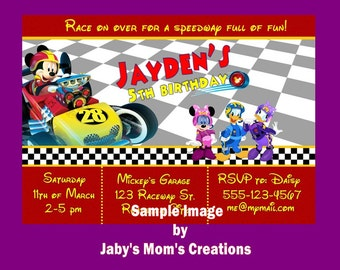 Mickey and the Roadster Racers Birthday Party Invitations, white envelopes and envelope seals included