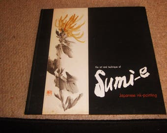 sumi-e japanese ink writing first edition 1960