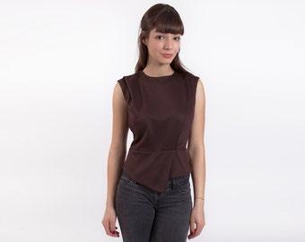 Brown Summer Top, Sleeveless Top, Conceptual Clothing, Fitted Top, Minimal Clothing, Sleeveless Blouse, Аsymmetric Top, Peplum Blouse