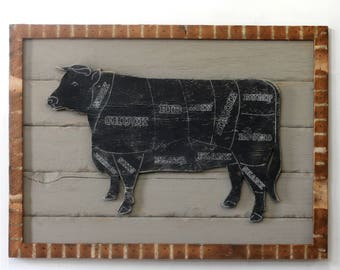 Framed Butcher Cow Sign Kitchen Wall Decor Wooden Framed Butcher Shop Cow Meat Chart Wooden Kuh
