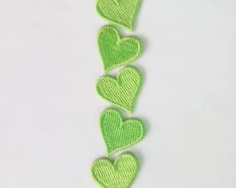Lot of 5 Pieces Embroidered Tiny Bright Green Heart Iron on Patch