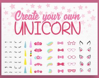 Unicorn svg - Unicorn Kit Svg - Create your own - Lashes Svg - Unicorn face svg - Unicorn Bundle - Horn Svg - Unicorn head Svg - Unicorn DXF