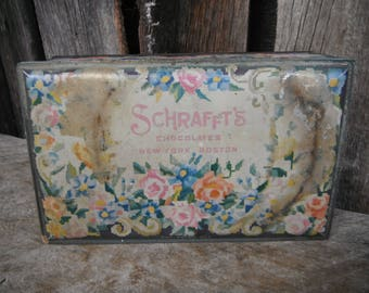 Vintage Romantic Floral Chocolate Tin -Schrafft's Chocolates
