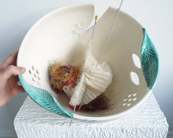 Yarn bowl JUMBO Extra Large Knitting Ceramic Yarn Holder Crochet Organizer White with green twisted leaves MADE to ORDER