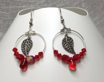 Earrings leaves, red ref 731