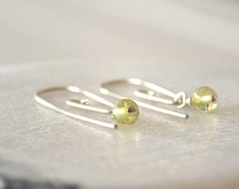 Peridot Earrings, Spiral Earring, Sterling Silver Earrings, August Birthstone, Sleeper Earrings
