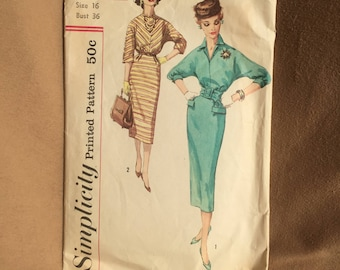 Vintage 50's Sewing Pattern, 50's Dress Pattern, Day Dress or Cocktail Dress, Pencil Skirt, Simplicity 2296 Vintage Size 16 Bust 36, SMALL