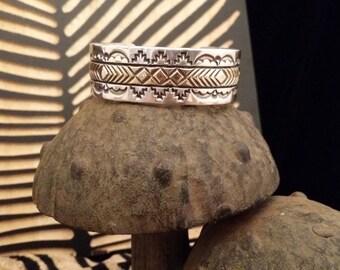 Vintage Southwestern Style Signed Sterling Silver and 14K Gold Cuff Bracelet