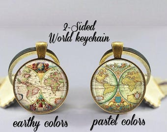 World globe keychain etsy world map keychain double sided globe keyring gift for world traveler vintage gumiabroncs