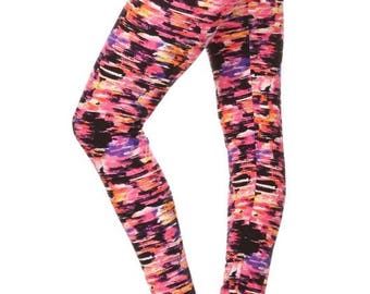 Multi-Colored Buttery Soft Leggings, yoga pants