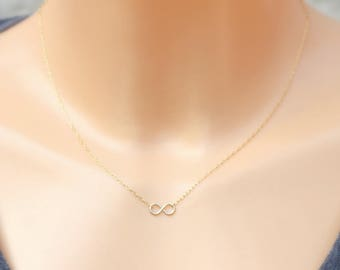 Tiny Charm Necklace /  Thin Gold Chain / Chain necklace /Gift for her / Tiny infinity necklace  / Christmas Gift for Her
