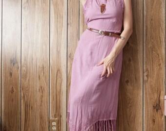 """Lavender Embroidered Fringe """"V"""" Dress"""