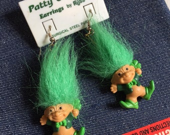 Vintage 1980s 90s Russ Patty O' Troll Earrings, Mini Troll Green Clover St Patricks Day Collectible Jewelry