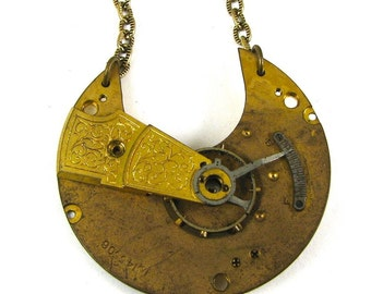 CLEARANCE 50% OFF The Steam Relic Steampunk Neo Victorian Pocket Watch Necklace with Exposed Gears Edwardian Script