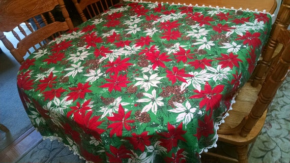 sweet retro christmas tablecloth square vintage table cloth - Square Christmas Tablecloth