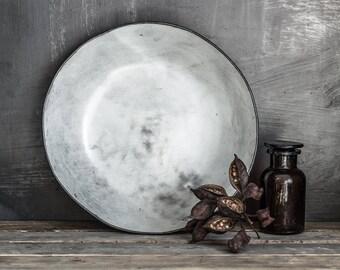 Large Serving Bowl, White Bowl, Pottery bowl , Wabi Sabi Bowl, Modern Stoneware Bowl, Large fruit bowl, Pomegranate bowl, housewarming gift