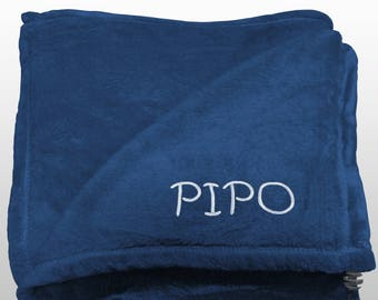 Personalized Multi-use Polar Sofa Bed Travel Fleece Blanket with Name - Ref. Dulcelina - Blue