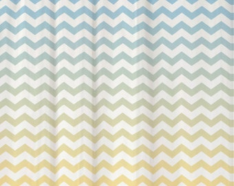 Shower Curtain in Ombre Chevron Standard and Extra Long Lengths 70, 74, 78, 84, or 96 Inches Shown in Cool Blue and Butter Yellow