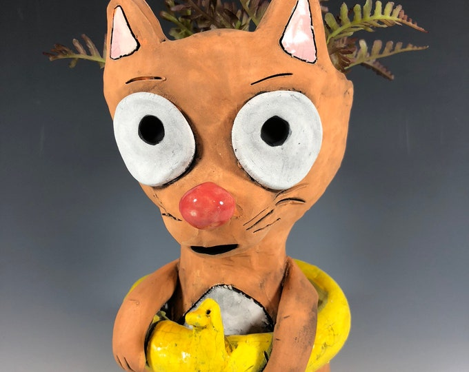 Duckie the Orange Cat // Summer Fun Times // Small Sculpture // Succulent Pot // Kitty Planter // Adorable // Unique // Gift // Pothead