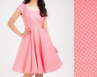 Pink Polka Dot Dress Valentines Dress Pinup Dress Retro Dress Rockabilly Dress Party Dress Plus Size Dress Prom Dress Swing Dress 50s Dress