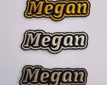 Personalised Embroidered Name Patch Badge L1 Gold silver Iron on or sew