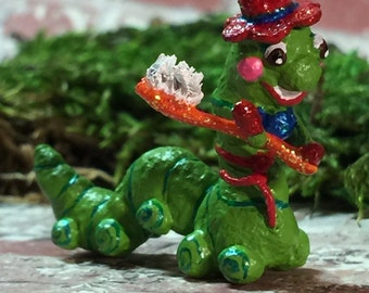Inchworm Sculpture ~ Dentist ~ Dental Professional ~ Hygienist ~ Toothbrush ~ Customizable ~ Miniature ~ Made to Order ~ SOLD!!!