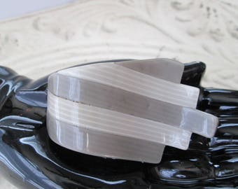 Vintage Plastic RIBBON Pin by LEA STEIN Paris France *tones of gray* dimensional
