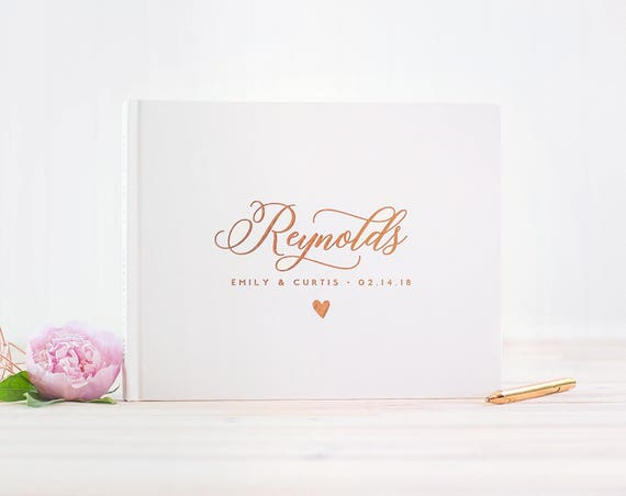Wedding Guest Book landscape guestbook horizontal wedding book Personalized Rose Gold Foil hardcover wedding guest book wedding journal new