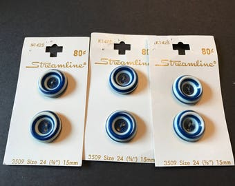 Vintage Streamline Buttons Blue and Cream.