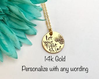 Personalized GOLD 14k filled necklace, personalized necklace , hand stamped necklace, gold necklace gift, wedding, christmas, Mother's Day