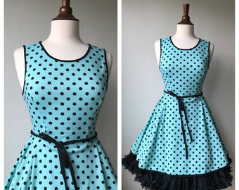 vintage aqua polka dot day dress 50s sz S