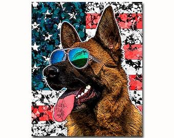 Patriotic pet portrait - proud american dog portrait - dog with US flag - political dog portrait - funny dog gift - customized dog art