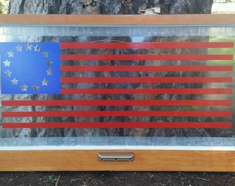 Flag paining on vintage window
