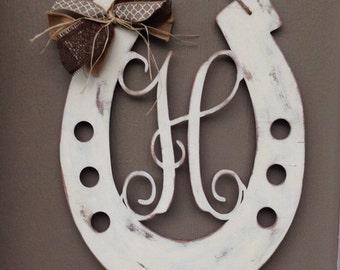 Horseshoe monogram door hanger