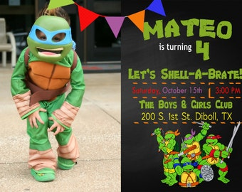 Teenage Mutant Ninja Turtle Birthday Invitation