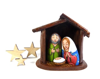 Christmas Nativity Scene Set-Hand Painted Stones-One of a Kind Rock Art-