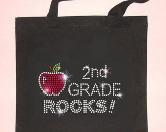 Tote School Bag - 2nd Grade Rocks - Most Grades Available - Teacher Gift