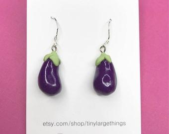 Polymer clay eggplant earrings
