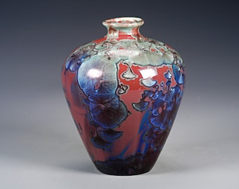 Porcelain Vase - Red, Green, Blue - Crystaline Glaze - Hand Made Ceramics - FREE SHIPPING - #B-5339