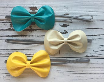 Faux Leather, Set of 3 Bows
