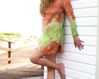 Boho Kaftan, Blouse, Top, Tunic, Beach Cover Up, Summer, colorful, Orange/Green, Hand decorated, boho, Resort, Ibiza, Women, One Size