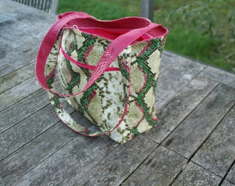 Pink and green python snake skin faux leather bag.