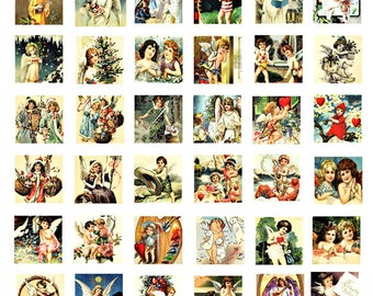angels cupids cherubs vintage art clip art digital download collage sheet 1 inch squares graphics images craft printables
