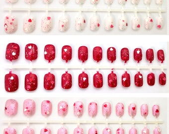 Red White Pink Heart Valentine's Day Nails | Heart Press On Nails | Short Fake Nails | Cute Kawaii Valentine False Nails + Glue | Pink Nails